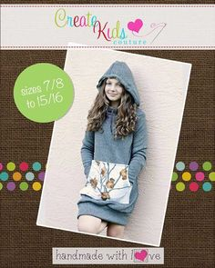 Create Kids Couture - Haven's Tweens Hoodie Dress PDF Pattern, $8.00 (http://createkidscouture.com/havens-tweens.html)