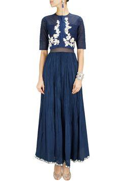 Blue sheer bodice anarkali set with embroidered jacket BY RIDHI MEHRA. Shop now at: www.perniaspopups... #perniaspopupshop #designer #stunning #fashion #style #beautiful #happyshopping #love #updates