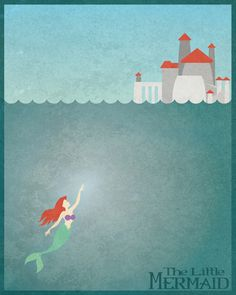Disney princess ariel prince Eric's castle The little mermaid minimalist