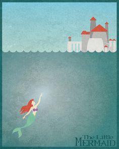 Disney princess ariel prince Eric's castle The little mermaid minimalist