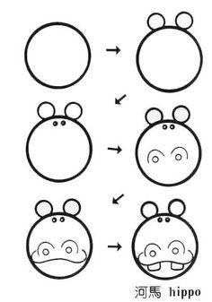 儿童简笔画河马图——儿童简笔画动物素材