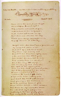 Emily Brontë - A manuscript page from the Gondal Poems. #reading, #books, #bronte