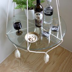 Hanging Table/Plant Holder with Tassels - Cream Cotton