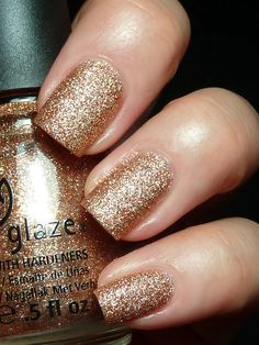 Fashion Polish: China Glaze: I Herd That Metallic Gold Nail Polish, Yellow Nail Polish, China Glaze Nail Polish, Nail Polish Colors, Mani Pedi, Manicure, Nail Paints, Sparkly Nails, Nail Patterns