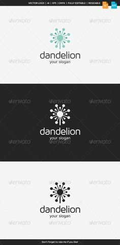 Dandelion Logo — Vector EPS #flora #elegant • Download here → https://graphicriver.net/item/dandelion-logo/8569270?ref=pxcr