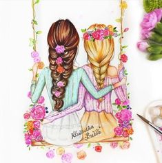 Pin by illustrationbubble on best friends forever bff Cute Best Friend Drawings, Best Friend Sketches, Friends Sketch, Drawings Of Friends, Girly Drawings, Cool Drawings, Bff Pics, Bff Pictures, Best Friend Pictures