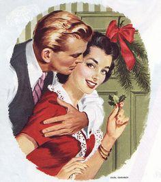Vintage Christmas illustration - couple with mistletoe - Collier's Magazine, December, 1953