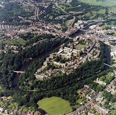 Durham Cathedral, Castle, University from the Air Durham England, North East England, England Uk, London England, Durham Cathedral, Cathedral Church, Places To Travel, Places To Go, Durham University