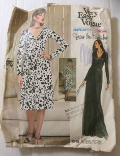 Very Easy Vogue 1548 Diane Von Furstenberg Wrap Dress Sz8 model Rene Russo Used 9pcs cut to shorter length? 2pgs Instr Env edge wear tear creasing couple of coffee stains Wrapped dress (Can be worn Forward or Backward) with fitted bodice and flared skirt, 3 inches (7.5 cm) below mid-knee, or evening length, has full length sleeves, pockets in side seems and attached tie ends that wrap and tie at waistline. Pc#4 is uncut from Pc#7 sld 46+3.54 6bds 9/12/15