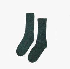 Individual Medley | Crew Socks in Hunter Green |  Super soft donegal tweed crew socks by Two Feet Ahead. In business since 1935, Two Feet Ahead socks are designed and produced in Atlanta, Georgia.   Available in 9-11 or 10-13  - 42% Cotton, 34% Acrylic, 24% Nylon