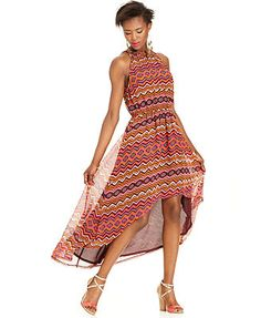 Bar III Dress, Sleeveless Halter Printed High-Low