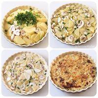 Mantarli Patates Graten. Gratén de hongos y papas