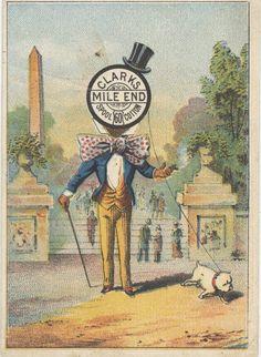 Clarks Sewing Thread Victorian Trade Card Spool Head Man Walks Dog Needle