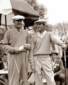 Byron Nelson and Ben Hogan wait to hit their tee shots at the 1942 Masters. Tied after 72 holes, Nelson defeated Hogan in a Monday playoff with the help of birdies on 11, 12, 13.