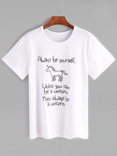 Shop White Slogan Print Short Sleeve T-shirt online. SheIn offers White Slogan Print Short Sleeve T-shirt & more to fit your fashionable needs. Printed Tees, Printed Shorts, T Shirt And Shorts, Tee Shirts, Unicorn Fashion, T Shirt Image, Budget Fashion, Cheap Shirts, Tshirts Online