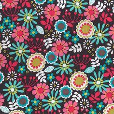 Lazy Daisy Mod Retro Flower Fabric Multi Color on Brown