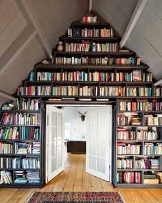 rather than a library how about just a book wall.  put the wall to work :)