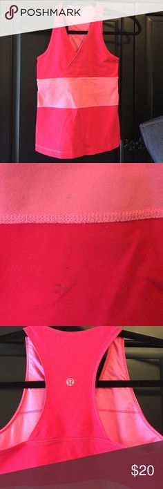 """Lululemon Bra Top Lululemon Coral, built in bra. Note 2 stains on front Pic 2, measures 13"""" across bust. Length from shoulder to bottom is 21"""". No guarantee of size, probably 6. ❗️Price Firm❗️No Trades ❗️Proceeds go towards feeding the homeless❗️ lululemon athletica Tops"""