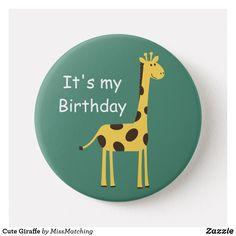 Cute Giraffe Custom Kids Birthday Button