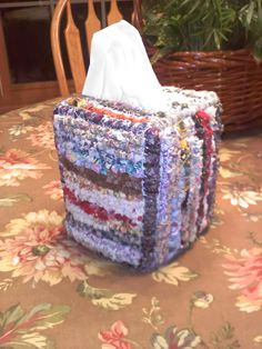 """This is called """"Locker Hooking""""  done with 1"""" strips of fabric on latch hook mesh and a special tool.  Love doing this and am now working on a rug to match this for the front bathroom.  (It will take much longer!)"""