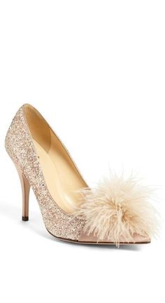 29cce1fe8b017 Oh so glam  Kate Spade sequin and feather pump Pretty Shoes