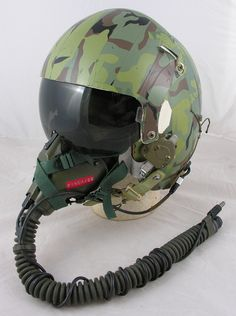 HGU-26/P Dual Visor Helmet with Original Camouflage Tape and MBU-5 Oxygen Mask