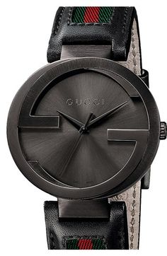 Gucci 'Interlocking G' Leather Strap Watch, 42mm available at #Nordstrom