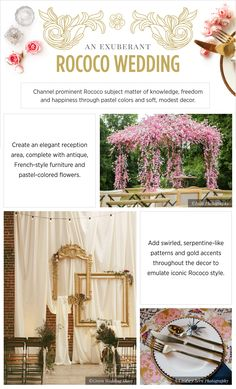 Wedding inspiration Rococo - See more inspirating wedding themes on B. Rehearsal Dinner Decorations, Tea Party Decorations, Art Deco Wedding, Diy Wedding, Wedding Ideas, Wedding Images, Wedding Themes, Wedding Channel, Vintage Tea Parties