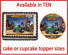 MONSTER TRUCK JAM  Edible Cake or Cupcake by EdibleDesignForCakes