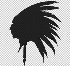 Plains Indian Chief  with Feather Headdress Silhouette Digital Graphic High Quality Printable Instant Download 3468
