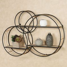 Add modern storage to your space with the Macayle Circles Wall Shelf. With an overlapping design, the storage accent features three metal circles with shelves. Circle Wall Shelf, Wall Shelf Unit, Home Wall Decor, Diy Bedroom Decor, Diy Home Decor, Walnut Shelves, Wooden Shelves, Floating Shelves, Kitchen Trends 2018