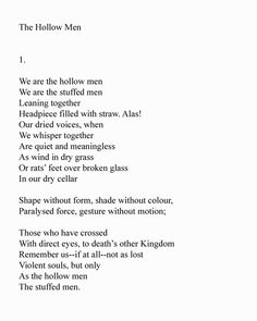 The Hollow Men, T.S. Eliot, Part 4 | Poetry | Pinterest | Eyes ...