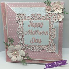 7 inch square card with diagonal fold back using Crafter's Companion Die'sire Essentials Only Words dies Designed by Judith Hall #crafterscompanion