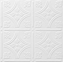 "classic look of the most popular tin ceiling ever created in easy-to-install 12"" X 12"" decorative tiles. Available in white and ready to be faux painted, Tin Look TinTile tiles can coordinate with any room. Apply it directly to the ceiling using furring strips or adhesive.   Fire retardant."