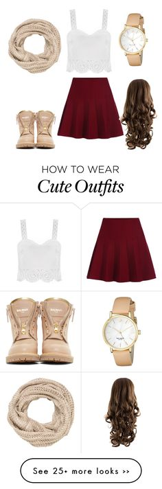 """""""I wish I could have this outfit anyways just a cute dress up look"""" by abbygayle-barber on Polyvore featuring Balmain, maurices and Kate Spade"""