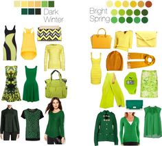 Dark Winter vs Bright Spring - Yellows and Greens ··· DW has maximum darkness point which by far exceeds BSp, and BSp can tolerate much more lightness, even near-pastels (which are kryptonite to DW)  DW would never wear the light yellow purse, even as an accessory, or the dark yellow hat and scarf, especially next to the face