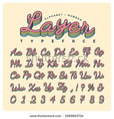 Vintage handwritten typeface or font in layered effect. Vector script alphabet and number set in retro style for title, headline, poster, website, brochure or name card design.