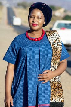South African Shweshwe Fabric Dresses Pictures 2019 - fashionist now Sepedi Traditional Dresses, African Traditional Wedding Dress, African Wedding Dress, African Attire, African Wear, African Dress, African Clothes, African Style, African Beauty