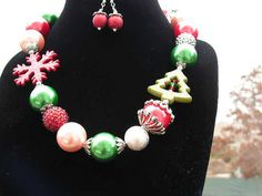 Items similar to Christmas Necklace Big Beautiful and Bodacious and Chunky Texas Style on Etsy Chunky Necklaces, Christmas Necklace, Holiday Jewelry, Big And Beautiful, Texas, Corner, Bracelets, Stuff To Buy, Etsy