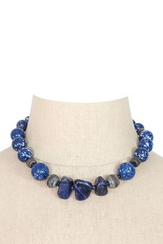 60's__Vintage__Denim Bauble Necklace
