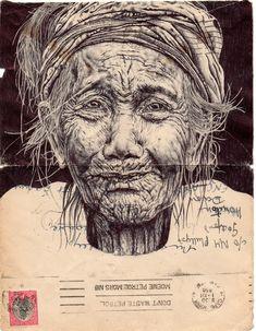 Bic Biro pen drawing on 1950 envelope Mark Powell