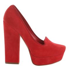 Red Suede Square Pump - Alexander McQueen (Feet on Fire Casual Red Suede Pump High Block Square)