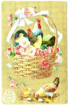 Early 1900 Easter Postcard Chicken Chick Rooster Easter #Easter