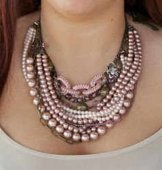 Chunky Pearl Necklace Statement Necklace Bib by Lavenderfields62
