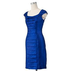 """Competing in a system where you need to """"sex it up"""" a little for your interview. This one is a great choice. Royal blue is very on trend this winter, and is a great color choice for many different skin tones/hair colors.  Suite 7 Iridescent Tiered Sheath Dress"""