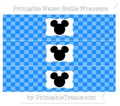 Free Dodger Blue Checker Pattern Mickey Mouse Water Bottle Wrappers