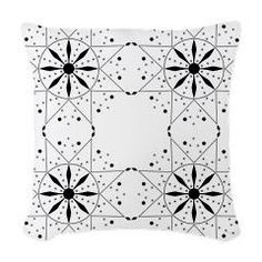 Snowflake Quilt Square Black and White Throw Pillow