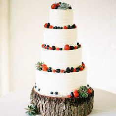 Succulents and Berries | The natural charm of fresh berries and sculptural succulents enliven the simple, buttercream-wrapped tiers of this tres leches cake. | SouthernLiving.com