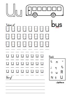 U vir bUs werkskaart en Kleimat - KraftiMama Grade R Worksheets, Tracing Worksheets, Preschool Worksheets, Abc For Kids, Alphabet For Kids, Puzzles For Kids, Preschool Learning Activities, Afrikaans, Writing Skills