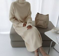Ivory High Neck sweaters dress / sweater long dress / knit dress / knit long dress /loose long dress / oversized dress/ Sweaters for women - Source by manikiii - Sweater Dress Outfit, Long Sweater Dress, Knit Dress, Jumper, Sweater Dresses, Dress Clothes, Outfits Casual, Fall Outfits, Fashion Outfits